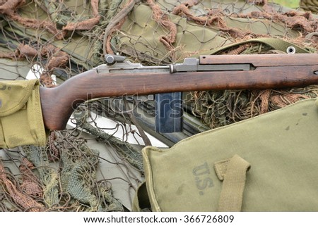 Ile de France,  M1 carbine and old military equipment of the second world war