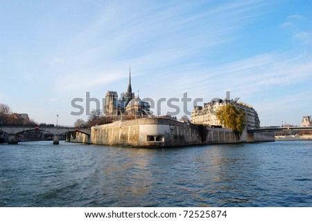 Ile de la Cite and the Seine - Paris, France - stock photo