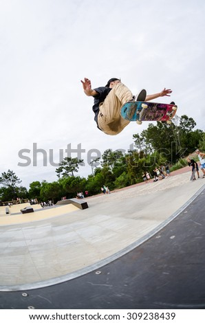 ILHAVO, PORTUGAL - AUGUST 22, 2015: Jorge Simoes during the Ilhavo's Skateboarding Championship and the new skatepark opening.