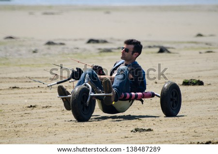 ILHAVO, PORTUGAL - MAY 12: Filipe Lemos on a Kitebuggy during the Festival do Vento  on may 12, 2013 in Ilhavo, Portugal.