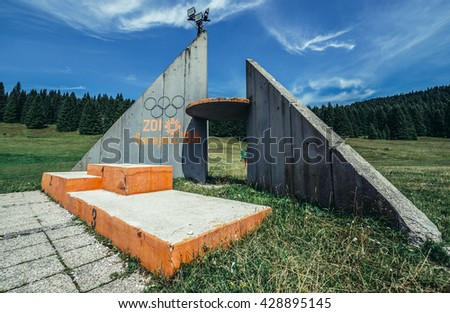 Ilidza, Bosnia and Herzegovina - August 24, 2015. Podium of Olympic Jumps on the mountain of Igman in Ilidza. The Objects was built for Winter Olympic Games in 1984