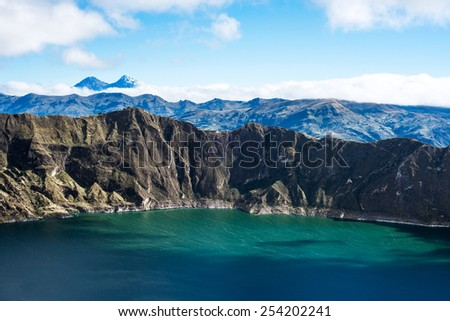 Ilinizas Volcanoes under the Quilotoa lagoon, Andes. Ecuador. Ilinizas Nature Reserve. Los Ilinizas - these 2 volcanos: Iliniza Sur at 5263m and Iliniza Norte at 5126m - stock photo