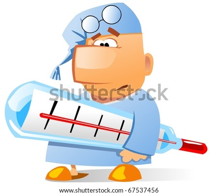 Ill businessman with a huge  thermometer. - stock photo
