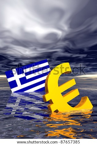 Ill euro symbol and greek flag drowning in the ocean by stormy weather - stock photo