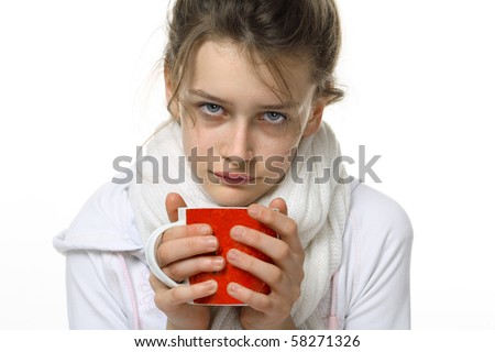 Ill girl with red cup  isolated on white background - stock photo