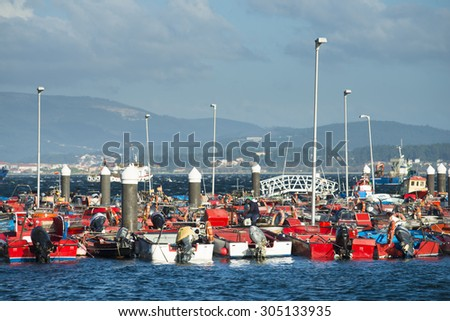 ILLA DE AROUSA, SPAIN - NOVEMBER 30, 2014: Detail of fishing boats anchored in the harbor of this beautiful island in the Ria de Arousa in Galicia. - stock photo