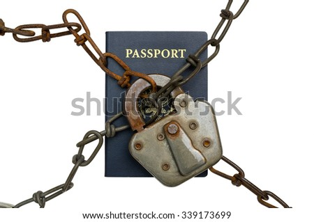 Illegal Immigration Concept - US Passport behind Lock and Chains - stock photo
