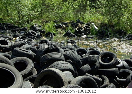 Illegal tire dump