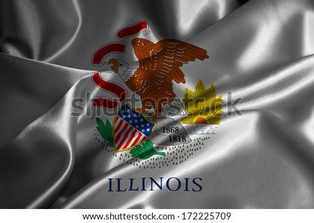 Illinois flag on satin texture. - stock photo