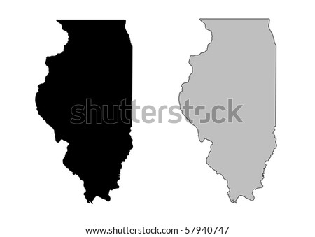Illinois map. Black and white. Mercator projection. - stock photo