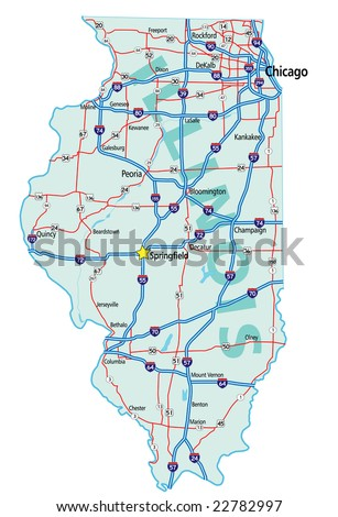 Illinois State Road Map Interstates Us Stock Vector - Us map with interstates