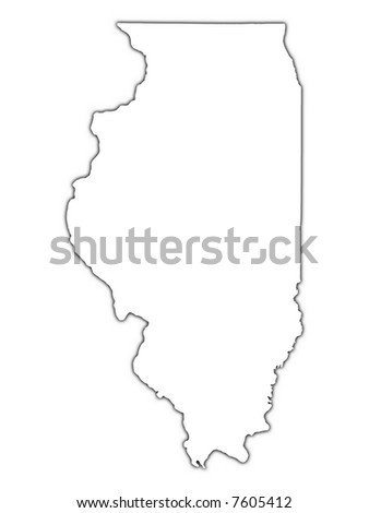 Illinois Usa Outline Map With Shadow Detailed Mercator Projection Stock