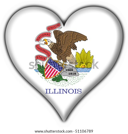 Illinois (USA State) button flag heart shape - stock photo
