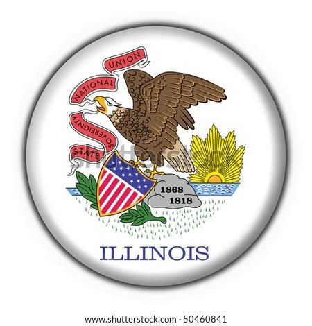Illinois (USA State) button flag star shape - stock photo