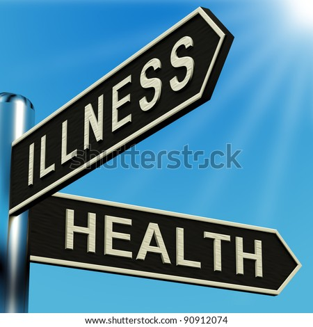 Illness Or Health Directions On A Metal Signpost - stock photo