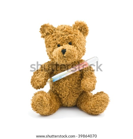 illness teddy isolated on white