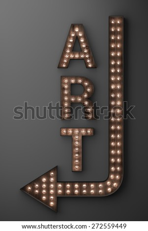 Illuminated art gallery sign with arrow pointing left - stock photo