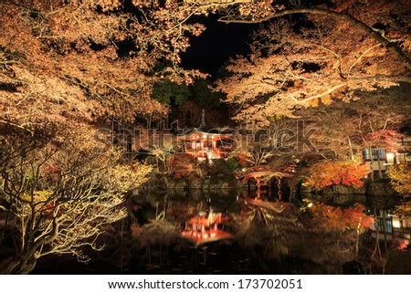 Illuminated Autumn Leaves at road in Daigo-ji Temple, japan.