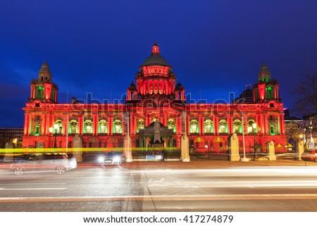 Illuminated Belfast City Hall. Belfast, Northern Ireland, United Kingdom. - stock photo