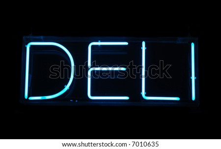 Illuminated blue deli neon sign on a black background - stock photo