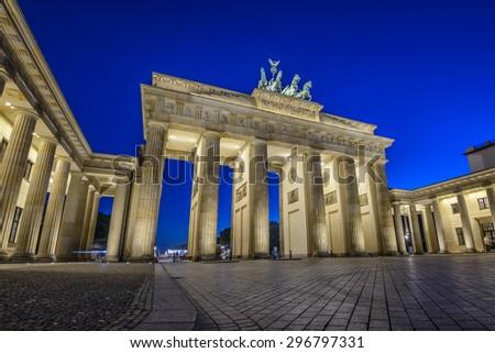 illuminated Brandenburg Gate (Brandenburger Tor) at evening, Berlin, Germany, Europe - stock photo