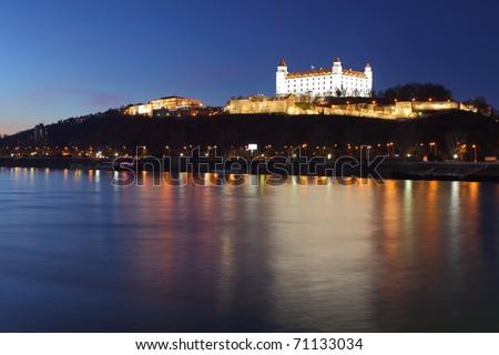 illuminated Bratislava castle at night, Slovakia - stock photo