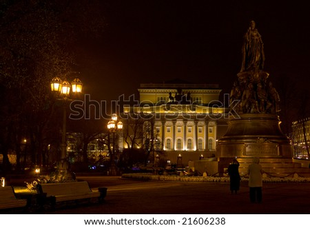Illuminated building of Theatre and monument of Catherine II