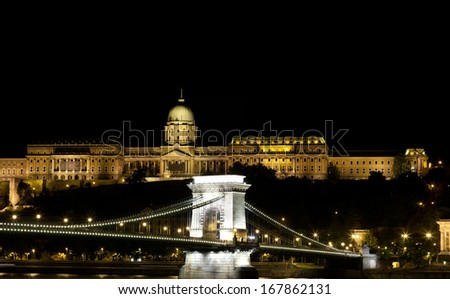 Illuminated Chain Bridge and Royal Palace, Budapest, Hungary - stock photo