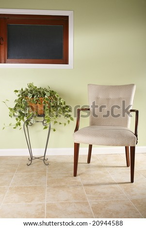 Illuminated chair and plant from side light - stock photo