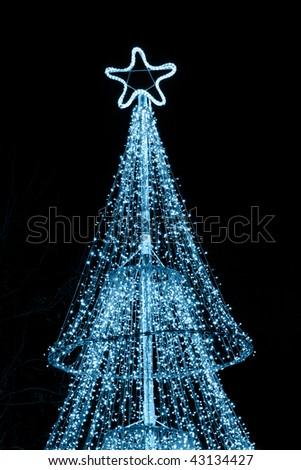 illuminated Christmas tree - stock photo