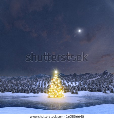 Illuminated Christmas tree in Alpine winter landscape - stock photo