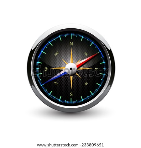 illuminated compass on a white background - stock photo