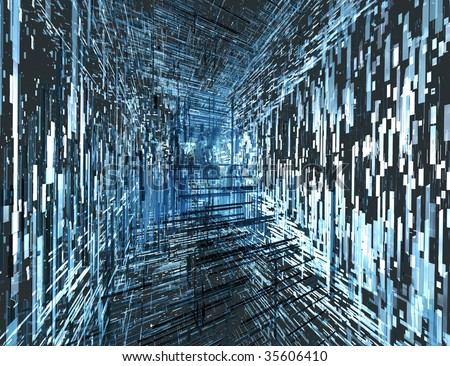 Illuminated dense abstract inner space made of sharp long cyan glass blocks - digital 3d artwork - stock photo
