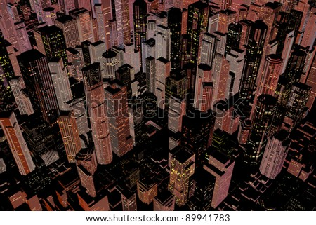 Illuminated downtown area of city with skyscrapers at night - stock photo
