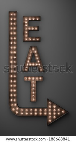 Illuminated eat sign with light bulbs, and arrow pointing right - stock photo