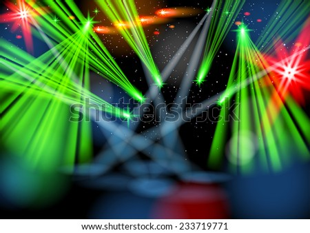 Illuminated empty stage, light show. Raster version. - stock photo