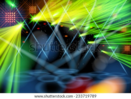 Illuminated empty stage. Light show. Raster version. - stock photo
