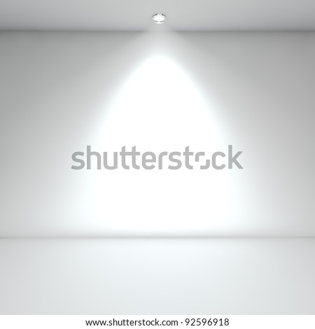 Illuminated empty white interior with spot light. - stock photo