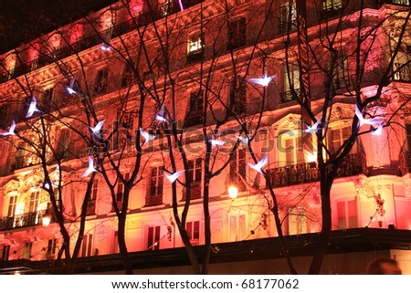 illuminated facade of a stately building, Lyon - France