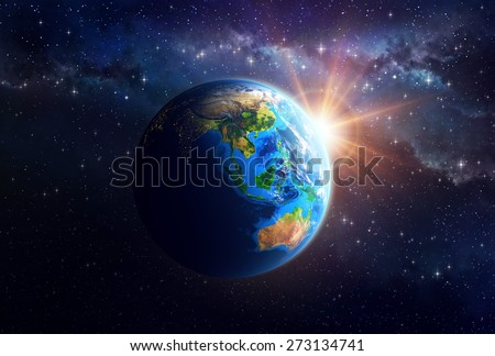 Illuminated face of the Earth in outer space. Detailed view of Asian and Australian continent. Elements of this image furnished by NASA - stock photo