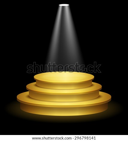 Illuminated Festive Golden Premium Stage Podium on Black Background  - stock photo