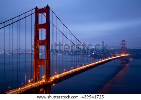 Illuminated Golden Gate Bridge at dusk, San Francisco