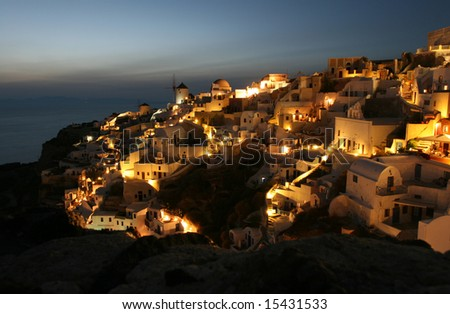 Illuminated Greek Village - stock photo