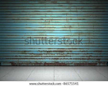 Illuminated grunge metallic roller shutter door - stock photo