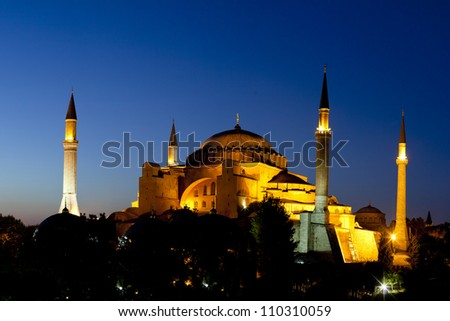 Illuminated Hagia Sophia with Blue Sky at Night Fall, Old City of Istanbul, Turkey - stock photo