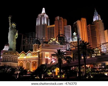 Illuminated Hotel in Las Vegas - stock photo
