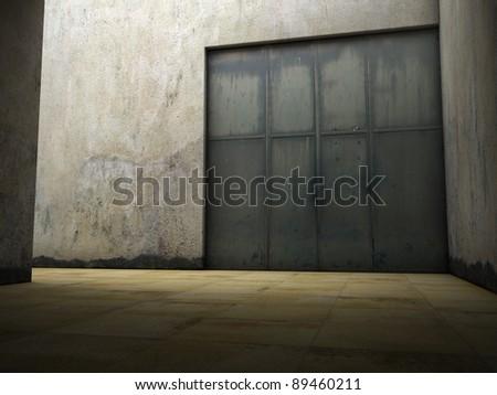 Illuminated industrial area with rusty door - stock photo
