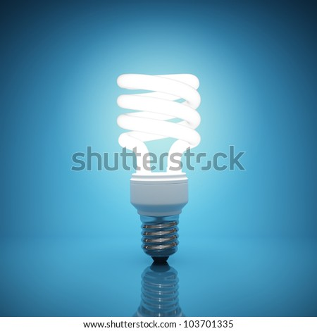 Illuminated light bulb on blue background - stock photo