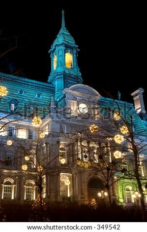 Illuminated Montreal city hall - stock photo