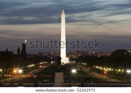 Illuminated National Mall with Washington monument in a center